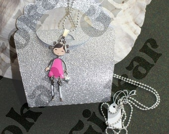 Pink doll necklace