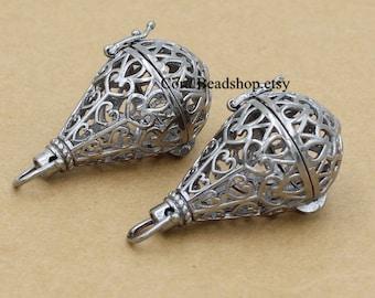 x0222-2pcs/lot Gunmetal Waterdrop Locket Pendant Magic Box Locket For Essential Oil Diffuser Necklace