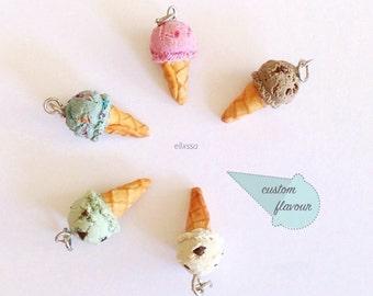 Miniature Ice Cream Pendant/ Ice Cream Charm