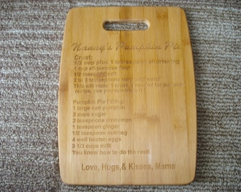 Bamboo Cutting Board Custom Laser Engraved W/ Your Recipe Large Board