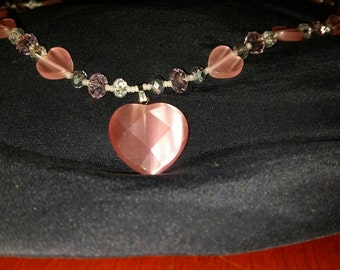 Pink Heart Cat's Eye and Crystal Necklace