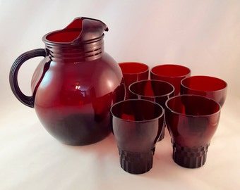 SALE - Ruby Red Pitcher and Glasses - 6 Glasses