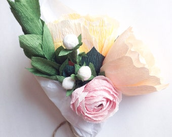 Paper Flower Arrangement, Wedding Centerpiece, Paper Flowers, Wedding Bouquet, Crepe Paper Flowers