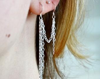 Sterling Silver Chain Earrings for two piercings