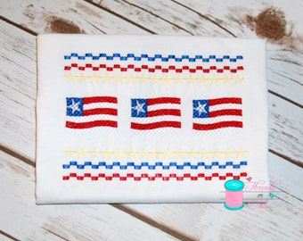 4th of July faux smock flag shirt