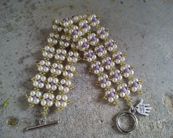 Bracelet (#141), handmade, bracelet with Czech glass seed beads and pearls, white, purple, olive green.
