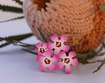 Flower Hair Clip-Flower Hairclip-Handpainted Flower Clip-Wood Hair Clip-Flower Barrette-Australian Wildflower-Pink Geraldton Wax