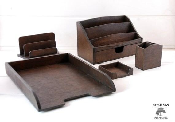Wooden desk set 5 parts organizer - Desk set organizer ...
