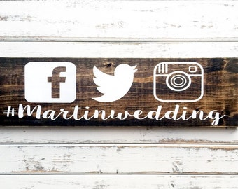 Hashtag Wedding Sign   5.5x20   Social Media Sign   Table Sign   Wedding Prop Sign   Rustic Wood Sign   Wedding Decor   Wedding Signs   Rust