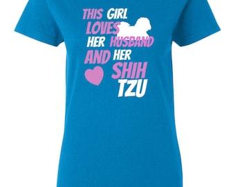 Shih Tzu T-shirt - This Girl Loves Her Husband And Her Shih Tzu - Only Shih Tzus Womens T-shirt