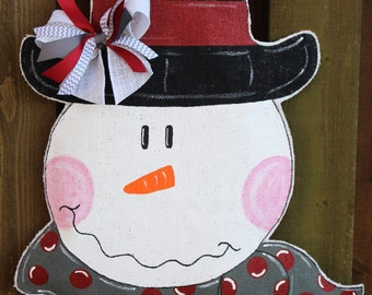 Snowman burlap door hanger