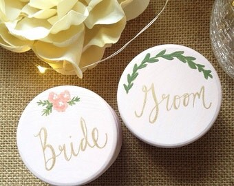 Bride and Groom Ring Bearer Boxes, Wedding Ring Bearer, Wedding Decor, Rustic Wedding, Boho Woodland Wedding, Floral Ring Bearer Box