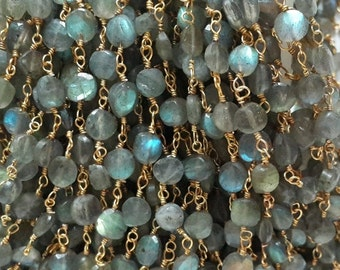 5 Feet Natural Labradorite Faceted Coin Beaded Chain - 24k Gold Plated Wire Wrapped Chain - Faceted Rosary Beaded Chain