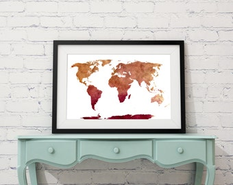 World Map wall art, Map art, World map painting, watercolor map