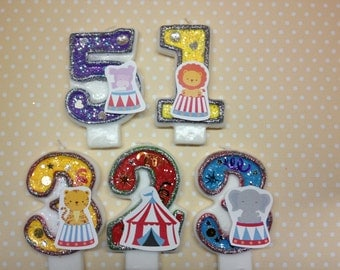 Carnival Circus Tent, Elephant, Hippo, Lion, Tiger Birthday Party Number Candle