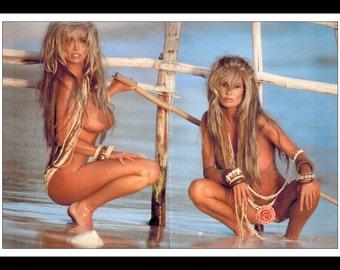 "Mature Celebrity Nude Supermodel : Barbie Twins Single Page Photo Wall Art Decor 2 Page Spread 16"" x 11"""