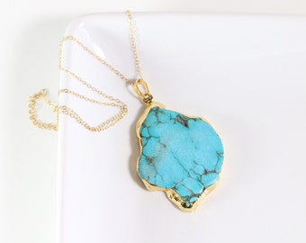 Turquoise Pendant | Howlite Turquoise 24k Electroplated | Gold Filled | Layered Necklaces | by LITLCO ( litl-17)
