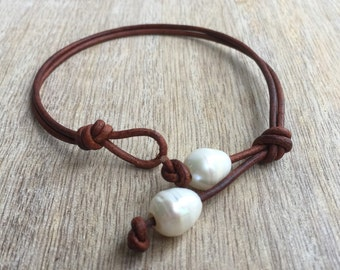 Freshwater Pearl Anklet, Adjustable Pearl Leather Anklet  LA001008