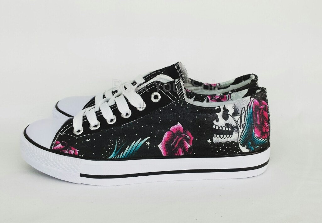 tattoo style skull shoes custom shoes women shoes. Black Bedroom Furniture Sets. Home Design Ideas