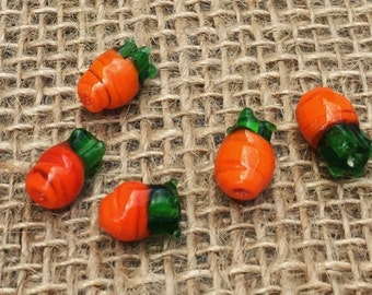 1   Baby Carrot Lampwork Glass Bead   Vegetable Earrings   Food Jewelry   Easter Bunny Bracelet   10-12 x 7mm   Free Shipping