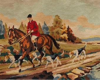 Large Vintage French Needlepoint Tapestry 'The Hunt'  Horse & Hounds  (4661)