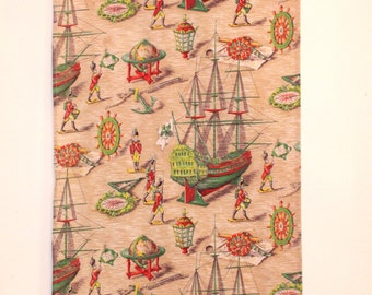 Original Vintage French Toile de Jouy Fabric, Curtain Panel. Toy Soldiers, Ships, Nautical. Unusual   (3880)