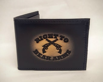 Right To Bear Arms Bifold or Trifold Leather Wallet