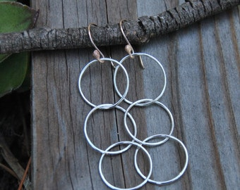 Hoop Earrings Silver, Three Hoop Earrings, Mixed Metal Hoop Earrings, Dangle Hoop Earrings, 14K Gold Filled, Sterling Silver