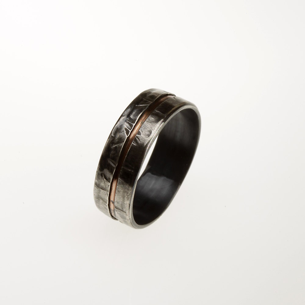 mens wedding band 6mm sterling silver copper by abimjewelry