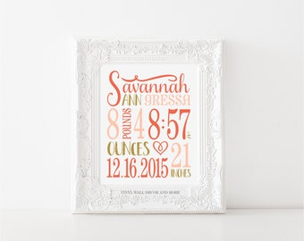 Birth Announcement Print- Digital Download