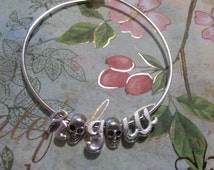 SKULLS spacers wire bangles INITIALS Alphabet letters personalized charm bracelet girls woman's sizes Mommy and Me