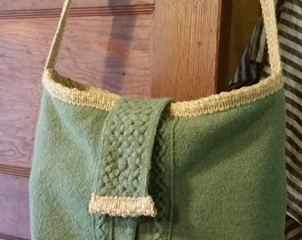 Shoulder bag made from repurposed sweater