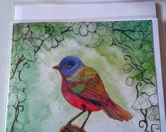 Quirky bird blank greetings card.