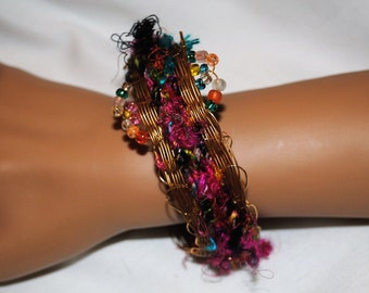 Gold Woven Wire and Sari Ribbon Bracelet