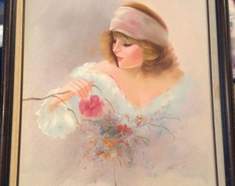 Vintage Collectors Corner,  Red Head Lady and Flowers, Signed Canvas