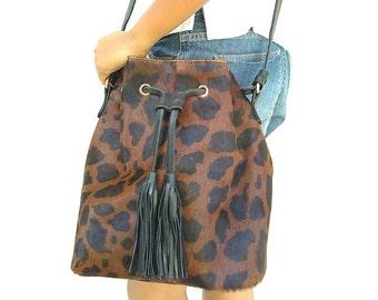 Jaguar animal print bucket bag, women's cow leather bag, cow leather sling bag, cow leather shoulder bag, leather bucket bag, bucket bag