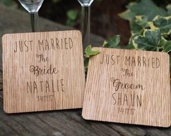 Wedding Coasters - Personalised wedding couples gift groomsmen bridal
