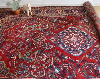 Great big hand knotted oriental rug. Vintage wool rug, Hamadan