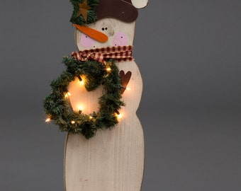 Primitive Winter Christmas Holiday Lighted Standing Snowman - Amish Made in USA