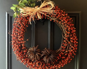 Pumpkin Wreath, Primitive Pumpkin Wreath, Rustic Pumpkin Wreath, Farmhouse Fall Wreath, Autumn Wreath, Harvest Wreath