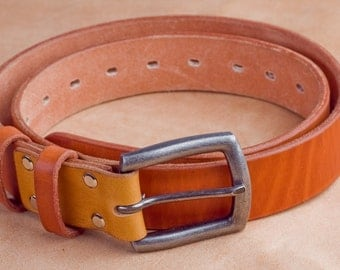 38mm  width leather belt, cognac coluor, strap, vegetable tanned leather, buckle