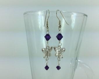 Purple Velvet Swarovski Crystal Butterfly Dangle Earrings