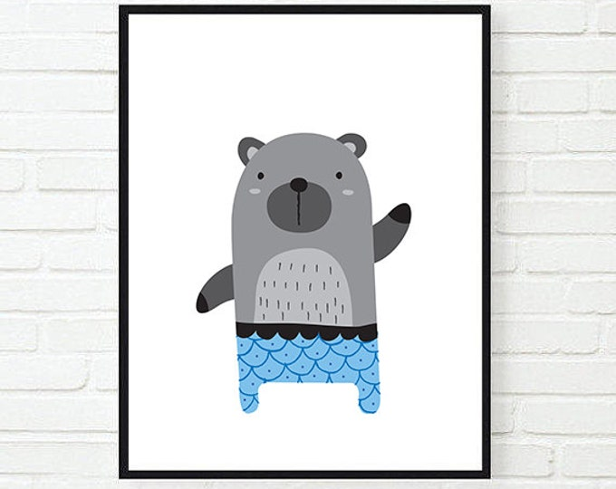 Funny Bear Printable Poster / Kid Poster / Nursery Printable Poster / Bear Poster / Children's Room Wall Art / A4 / 50X70 Poster