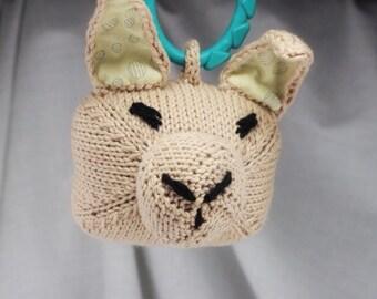 Tan Bunny Rattle   Handknit   Cotton