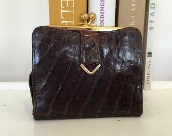 Alligator Wallet - Bi-Fold Wallet - Brown Leather Wallet - Wallet with Change Pocket