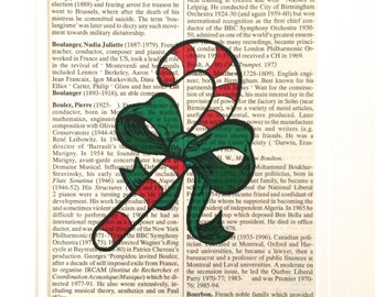 CHRISTMAS CANDY CANE - Dictionary Book Page Print - Recycled Vintage Book Page, Home Decor, Poster, Art