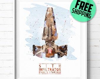 Star Wars Sith Infiltrator print, Star Wars print, Sith Infiltrator poster, Watercolor art, abstract, Star Wars wall art, [312] office decor