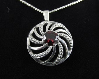 "Spiral Shaped Sterling Silver Pendant - 3.15ct Rhodolite Garnet - w/18"" Chain - Necklace"