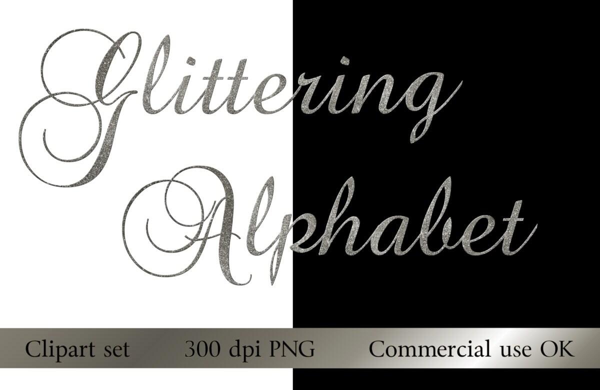 silver glitter alphabet digital download instant