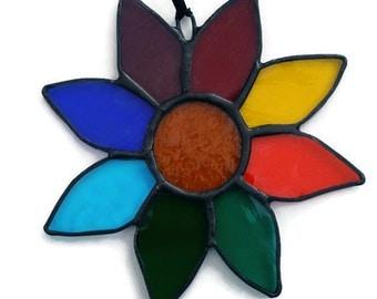 Rainbow Stained Glass Sunflower Suncatcher, Rainbow Sunflower, Handmade